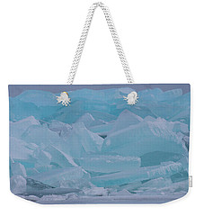 Weekender Tote Bag featuring the photograph Mackinaw City Ice Formations 21618010 by Rick Veldman