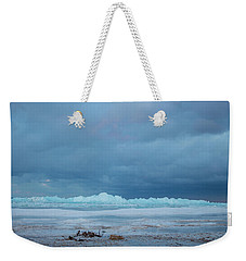 Weekender Tote Bag featuring the photograph Mackinaw City Ice Formations 21618011 by Rick Veldman