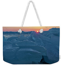 Weekender Tote Bag featuring the photograph Mackinaw City Ice Formations 21618013 by Rick Veldman