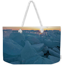 Weekender Tote Bag featuring the photograph Mackinaw City Ice Formations 21618014 by Rick Veldman