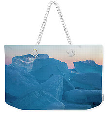 Weekender Tote Bag featuring the photograph Mackinaw City Ice Formations 2161804 by Rick Veldman