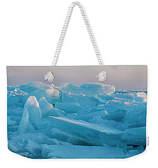 Weekender Tote Bag featuring the photograph Mackinaw City Ice Formations 2161807 by Rick Veldman