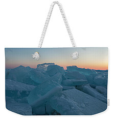 Weekender Tote Bag featuring the photograph Mackinaw City Ice Formations 2161808 by Rick Veldman