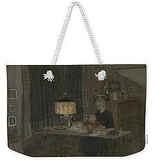 Weekender Tote Bag featuring the painting Madonna by Ivar Arosenius