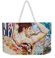 Weekender Tote Bag featuring the painting Magic Loves The Hungry  by Rene Capone