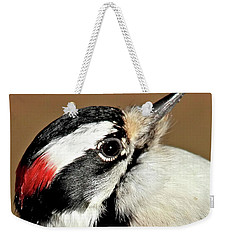 Weekender Tote Bag featuring the photograph Male Downy Woodpecker by Debbie Stahre