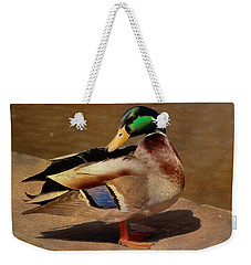 Weekender Tote Bag featuring the painting Male Mallard - Painted by Ericamaxine Price