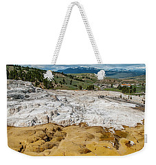 Weekender Tote Bag featuring the photograph Mammoth Hot Springs And Hotel by Matthew Irvin