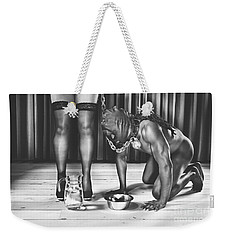 Man With Mask On His Knees Beside His Mistress Weekender Tote Bag