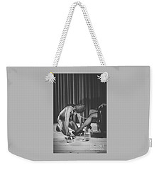 Man With Masked Face On His Knees In Front Of His Mistress Weekender Tote Bag