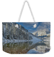 Weekender Tote Bag featuring the photograph Maroon Bells Reflection In The Maroon Lake With Fresh Snow Aspen Colorado Usa. by OLena Art Brand