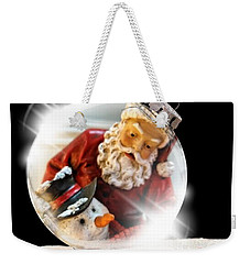 Weekender Tote Bag featuring the mixed media Merry Christmas Santa And Snow by Rachel Hannah