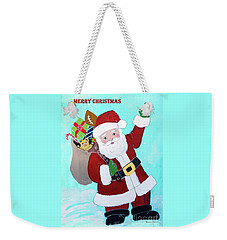 Weekender Tote Bag featuring the painting Merry Christmas Santa With Toy Sack by Robin Maria Pedrero