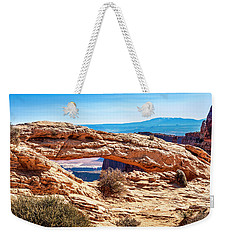 Weekender Tote Bag featuring the photograph Mesa Arch by Andy Crawford