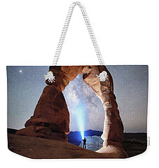 Weekender Tote Bag featuring the photograph Milky Way Night Sky In Moab Arches National Park \ by OLena Art Brand