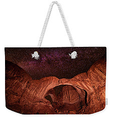 Weekender Tote Bag featuring the photograph Milky Way Over Double Arch by Andy Crawford