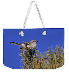 Weekender Tote Bag featuring the photograph Mockingbird In White Pine by Debbie Stahre