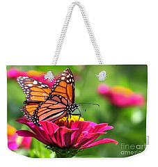 Monarch Visiting Zinnia Weekender Tote Bag