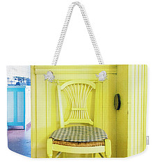 Weekender Tote Bag featuring the photograph Monet's Kitchen Yellow Chair by Craig J Satterlee