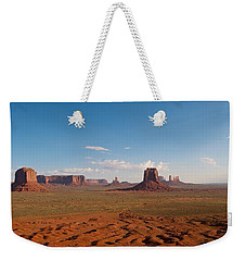 Weekender Tote Bag featuring the photograph Monument Valley by Mark Duehmig