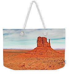 Weekender Tote Bag featuring the photograph Monument Valley Panorama by Andy Crawford