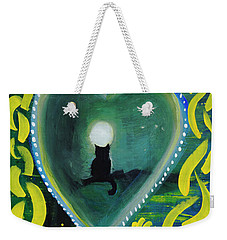 Weekender Tote Bag featuring the painting Moon Cat Ornament by Dobrotsvet Art
