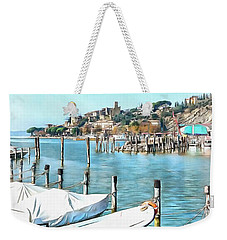 Weekender Tote Bag featuring the photograph Moored Boats At Passignano by Dorothy Berry-Lound