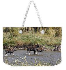Moose With Twins Weekender Tote Bag