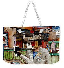 Weekender Tote Bag featuring the painting More Thro The Window On The World by Val Byrne