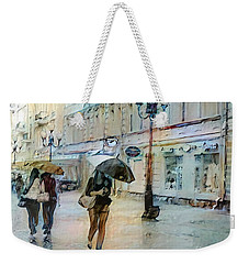 Weekender Tote Bag featuring the painting Moscow In The Rain by Chris Armytage