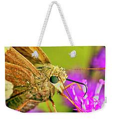 Moth On Purple Flower Weekender Tote Bag
