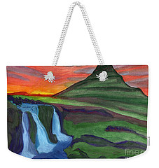 Mountain And Waterfall In The Rays Of The Setting Sun Weekender Tote Bag