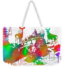 Mule Deer Skyline Drip Art Weekender Tote Bag