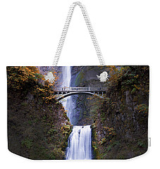 Weekender Tote Bag featuring the photograph Multnomah Falls Autumn Colors by Rospotte Photography