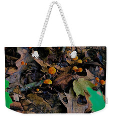 Weekender Tote Bag featuring the photograph Mushrooms And Leaf Litter by Lukas Miller