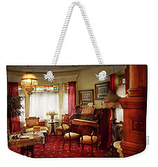 Weekender Tote Bag featuring the photograph Music - Organ - In The Parlor by Mike Savad