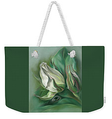 Weekender Tote Bag featuring the pastel Mystery In The Rose Garden by MM Anderson