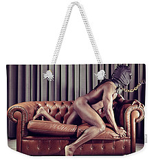 Naked Man With Mask On A Sofa Weekender Tote Bag