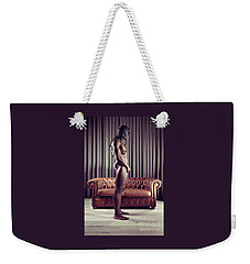 Naked Man With Mask Standing In Front Of A Sofa Weekender Tote Bag