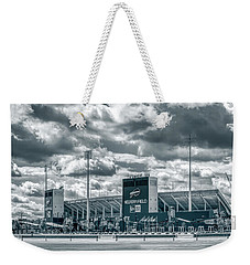 Weekender Tote Bag featuring the photograph New Era Stadium by Guy Whiteley