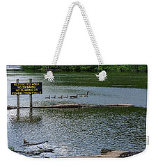 Weekender Tote Bag featuring the photograph No Swimming by Kristi Swift