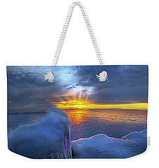 Weekender Tote Bag featuring the photograph No Winter Skips Its Turn. by Phil Koch