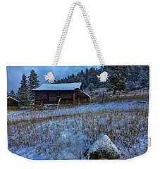 Weekender Tote Bag featuring the photograph November Cabin by Dan Miller