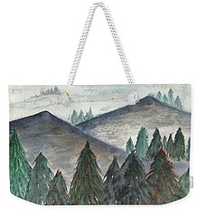 Weekender Tote Bag featuring the painting November Mountains by Betsy Hackett