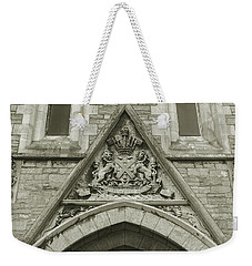 Weekender Tote Bag featuring the photograph Old Coat Of Arms On Plymouth Guildhall by Jacek Wojnarowski