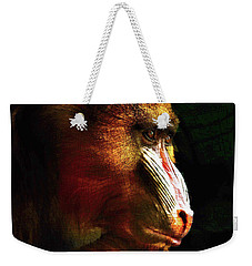Weekender Tote Bag featuring the mixed media Old World Mandrill by Susan Maxwell Schmidt