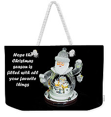 Weekender Tote Bag featuring the photograph Old World Santa And His Hopes For The Christmas Season by Kay Brewer