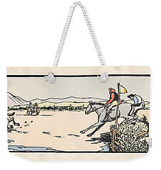 Weekender Tote Bag featuring the painting Omey Races, Galway by Val Byrne