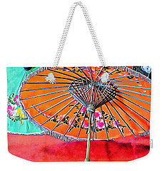 Weekender Tote Bag featuring the photograph Orange And Green Oriental Parasols by Dorothy Berry-Lound