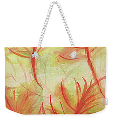 Orange Fanciful Leaves Weekender Tote Bag